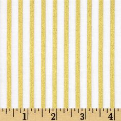 Designed by Melissa Mortenson for Riley Blake, this cotton print is perfect for quilting, apparel and home decor accents. Colors include white with gold metallic stripes.