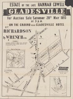 1893 Auction Real Estate Ads, Australian Architecture, Sydney Australia, Historical Sites, Family History, Maps, Auction, Country, Real Estate Signs
