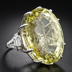 Colossal Vintage Lemon Citrine and Diamond Ring - 30-1-1662 - Lang Antiques