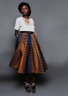 NEW The Shavon Midi Skirt. ~Latest African Fashion, African Prints, African fashion styles, African clothing, Nigerian style, Ghanaian fashion, African women dresses, African Bags, African shoes, Kitenge, Gele, Nigerian fashion, Ankara, Aso okè, Kenté, brocade. DK