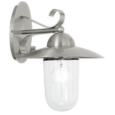 Applique descendante extérieure Milton 60 W, inox EGLO Outdoor Wall Lantern, Outdoor Wall Sconce, Outdoor Wall Lighting, Outdoor Walls, Bathroom Lighting, Clear Light Bulbs, Light Bulb Bases, Led Filament, Luminaire Design