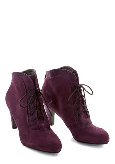 To Be Ornate To Be Bootie. Fancy up your footwork in these Victorian-inspired ankle booties by Poetic Licence! #purple #modcloth