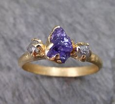 Raw Sapphire Diamond Gold Engagement Ring Wedding Ring Custom One Of a Kind Purple Violet Gemstone Ring Three stone Ring