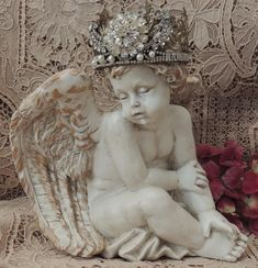 Cherub Statue, Crowned Cherub Angel with Ornate Jeweled Crown, Angel Religious Statuary Holiday Baby Nursery Cottage Gift Home Decor Metal Crown, Angel Decor, 17th Century Art, Old Cemeteries, Angel Statues, Buddhist Art, Garden Statues, Brown And Grey, Organic Gardening