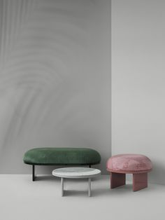 Collection composed of a pouf, benches and coffee tables. Produced by #pleasewaittobeseated #ruipereira #ryosukefukusada #IMMcologne2019