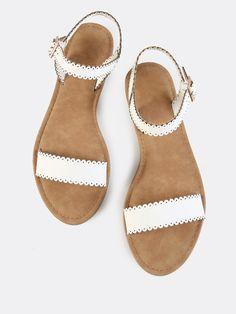Scalloped Trim Flat Sandals WHITE -SheIn(Sheinside)