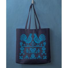 Blue Roosters Russian Embroidery Screenprinted Totebag from Kurochka Clothing $18 http://kurochkaclothing.com