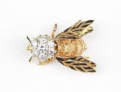 A Diamond and 14 Karat Yellow Gold Bee Pin. Lot 165-7166