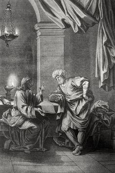 Phillip Medhurst presents John's Gospel: Bowyer Bible print 5324 Christ receives Nicodemus John 3 Picart on Flickr. A print from the Bowyer Bible, a grangerised copy of Macklin's Bible in Bolton Museum and Archives, England.