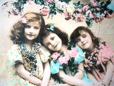 Antique french postcard -Three little girls, Edwardian dress, spring season…