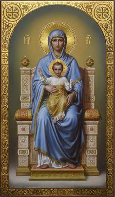 Богородица на престоле, академическая икона