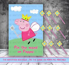 Peppa Pig Pin the Wand on Peppa ! Printable Party Fun Game INSTANT DOWNLOAD