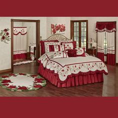 The Briar Rose Comforter Set is polyester faux silk. The champagne center has diamond quilting, and the drop has dark red and blush vining rose embroidery. Rose Bedroom, Bedroom Red, Rose Comforter, Comforter Sets, Purple Bedding Sets, How To Clean Pillows, Elegant Curtains, Traditional Bedroom Decor, Briar Rose