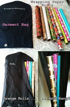 A garment bag is the perfect size for holding your wrapping paper and nearly everyone has an extra one handy.  Simply lay the bag flat and slide the rolls in vertically.  Then just zip and hang neatly in your closet!