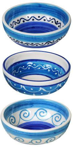 GREECE - mmm...Mezze! - hand painted Mezze bowls. mix and match your favorite combination. - #Oil & Vinegar, #Greece