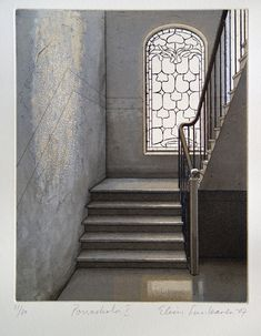 Elina Luukanen - Porrasholvi 1 - Etching/ Aquatint 2008 Hidden Places, Artwork Images, Stairways, Artsy Fartsy, Printmaking, Graphic Art, Art Drawings, Contemporary Art, Architectural Drawings