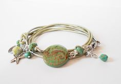 green seahorse wrap bracelet, turquoise bead leather wrap bracelet, boho wrap bracelet, stacking bracelet, boho chic, beach jewelry by jcudesigns on Etsy