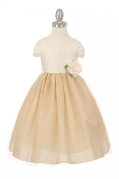 Ivory Dupioni Bodice & Overlay Tulle Skirt Flower Girl Dress