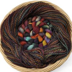 """Yarn and roving - this one was called """"Ruffled Feathers""""."""