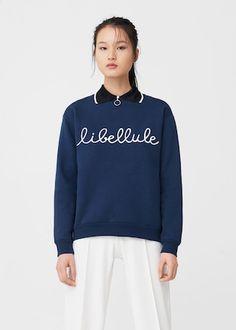 Message cotton sweatshirt -  Woman | MANGO United Kingdom