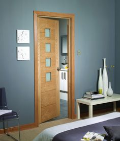 Palermo Internal Oak Door with Obscure Glass Lifestyle Roomshot