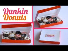 Dunkin Donuts and Box Tutorial for Fimo or Polymer Clay Barbie Food, Doll Food, Polymer Clay Miniatures, Polymer Clay Charms, Dollhouse Miniatures, Diy Clay, Clay Crafts, Minis, Cute Clay
