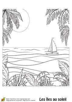 Coloriage d une le et d un voilier coloriages vacances - Dessin d une ile ...