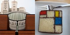 The Mondrian Cake served at the SFMOMA Rooftop Coffee Bar. LOVE IT: