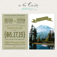 Rustic Mountain Wedding Invitation and RSVP by alacartestudio, $30.00 --really like the wording in this! ❤️