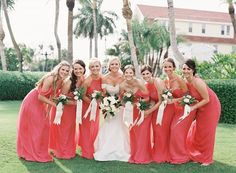Mix and match corals for your bridal squad! Amsale Bridesmaid, Bridesmaid Dresses, Wedding Dresses, Coral Wedding Colors, Bridal Squad, Hue, Instagram Posts, Corals, Style