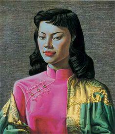 Miss Wong by Vladimir Tretchikoff Kitsch Art Postcard Kitsch Art, South African Artists, Vintage Art Prints, Of Wallpaper, Dieselpunk, Oeuvre D'art, Canvas Art Prints, Framed Canvas, Framed Prints