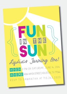 Summer is just around the corner! Check out this new bright design in my shop! Fun in the Sun Birthday Party Invitation /// by SweetGreetsDesigns, $15.00