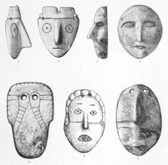 Native American maskettes. Pendants / effigy / mask.