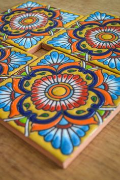 Mexican Paintings, Mexican Embroidery, Talavera Pottery, Scandinavian Folk Art, Decorative Tile, Tiles, Hand Painted, Kitchen Ideas, Kitchen Design