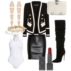 Office to Happy Hour Chic by kimberlymajor on Polyvore featuring polyvore, fashion, style, Balmain, The Row, Object, Christian Louboutin, Alexander McQueen, Bulgari, Asprey and Burberry