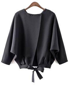 Black Batwing Sleeve Back Split Blouse Buy Black Batwing Sleeve Back Split Blouse from abada Cute Blouses, Shirt Blouses, Blouses For Women, Blouses 2017, Feather Dress, Latest Street Fashion, Trendy Fashion, Style Fashion, Black Blouse