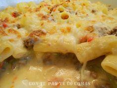 Macarrones con carne y queso gratinados