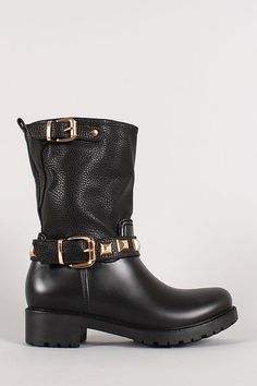 3b258ad24a2c Buckle Studded Round Toe Mid Calf Boot