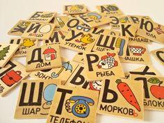 Russian wooden pictorial alphabet