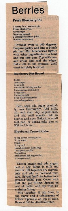 Blueberry Recipes: