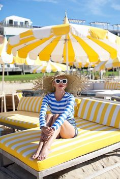Summer Style Ideas // stripes in the hamptons, gurneys, white sunglasses, celine, striped bathing suit, beach day