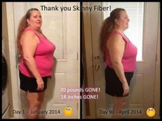 ANOTHER GREAT TESTIMONY...  Here is Becky with lots of changes! Order your Skinny Fiber here  Order Skinny Fiber here--> http://Regan74.SBC90.com/  Here I am - me, Becky, on day 90. I am thrilled with my Skinny Fiber results! Minus 20 pounds and 18 inches gone!  What I changed: I swapped water for soda (pop here in Michigan). I tried to choose more wholesome foods for myself. I used my treadmill off and on (mostly off but I'm working on that). Most importantly, I took my Skinny Fiber ...
