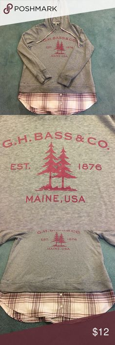 G.H. Bass & Co hoodie Very soft G.H. Bass & Co hoodie size Large. Plaid bottom is sewn on at the end of the hem Tops Sweatshirts & Hoodies