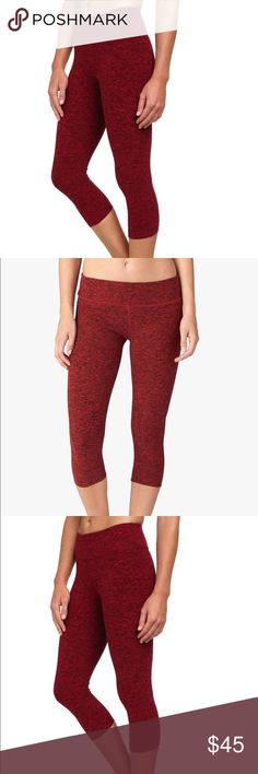 Beyond yoga Capri maroon yoga pants Spacedye Performance: A uniquely textured performance fabric with an exceptionally soft hand. Fabric attributes include 4-way stretch and quick dry properties. Garments will maintain color and shape throughout every wash. increases flexibility and prevents ride-up. prevent uncomfortable chafing.    Super soft fabric Designed For: Yoga, Workout or Out and About Fabric:  Spacedye Performance Beyond Yoga Pants Capris