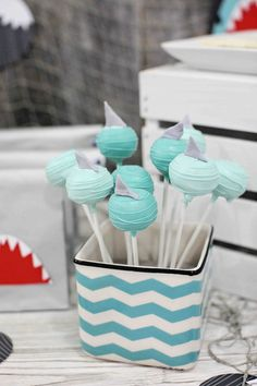 Love these cake pops from a Shark themed birthday party via Kara's Party Ideas KarasPartyIdeas.com Printables, favors, recipes, supplies, and more! #sharkparty #sharkpartyideas #cakepops