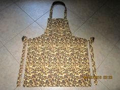 Cheetah Leopard (brown and black) Cotton (black backing-no pockets) - Adult Sized Apron by ShawnasSpecialties on Etsy