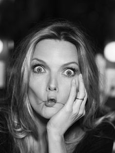 Michelle Pfeiffer pulling a silly face Michelle Pfeiffer, Silly Faces, Funny Faces, Goofy Face, Cinema, Hollywood, Portraits, Making Faces, Face Expressions