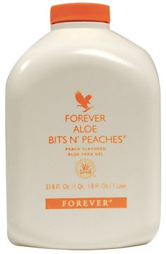 Forever Living Aloe Bits N Peaches  Contains stabilised Aloe Vera and is flavoured naturally with sun ripened peaches.  The carotene found in the peach is a powerful antioxidant which aids skin tissue.   The vitamin A content helps maintain healthy eyesight.