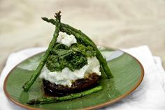 Grilled Portobello Steak Tower with Kale, Potatoes, and Asparagus - Vegan