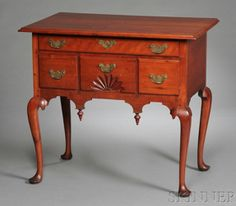 Queen Anne Cherry Carved Dressing Table, Connecticut, c. 1740-60, old replaced brasses, refinished, (imperfections), ht. 31, case wd. 29 3/4, case dp. 18 in.